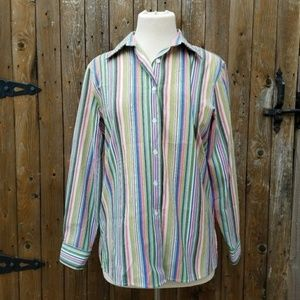 Foxcroft Petites Size 10P Striped Button Down Top
